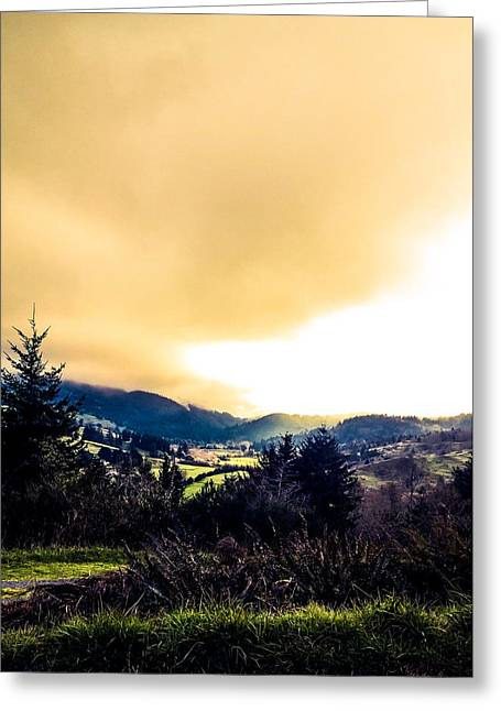 Fog Over Farmland Greeting Card