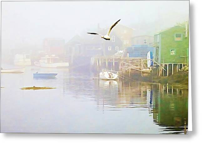 Fog Over West Dover - Digital Paint Greeting Card
