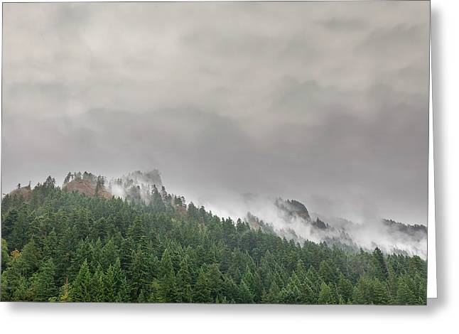 Fog Rolling Over Columbia River Gorge Greeting Card