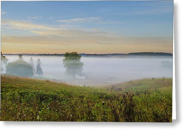 Fog Shrouded Valley Forge Greeting Card by Bill Cannon