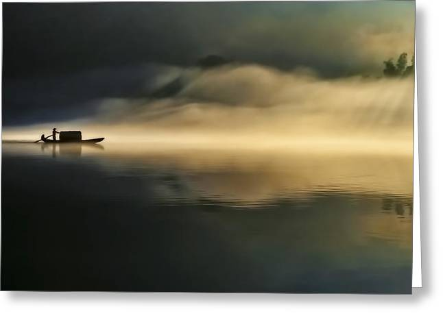 Fog Sprinkle The East River Greeting Card by Hua Zhu