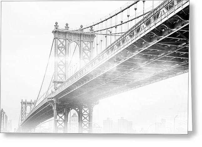 Fog Under The Manhattan Bw Greeting Card by Az Jackson