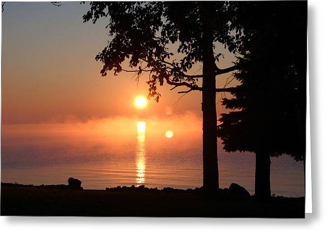 Greeting Card featuring the photograph Fog With A Sunrise On Big Bago by Jack G  Brauer