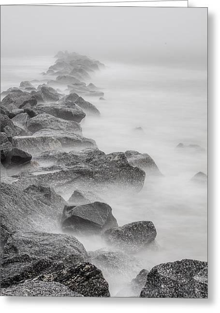 Foggy Atlantic Ocean Rocks  Greeting Card by John McGraw