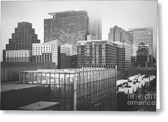 Foggy Austin Skyline Black And White Picture Greeting Card by Paul Velgos