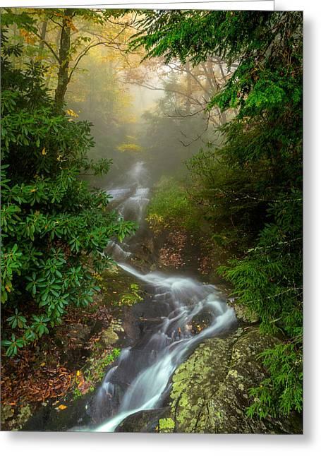 Foggy Autumn Cascades Greeting Card