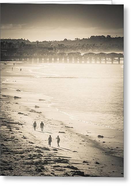 Foggy Beach Walk Greeting Card