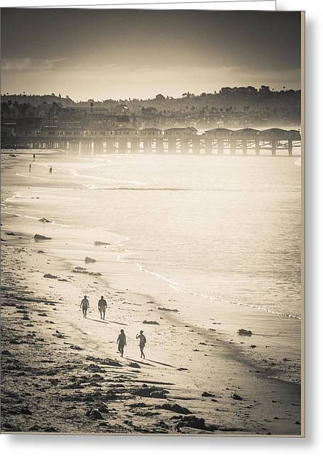 Greeting Card featuring the photograph Foggy Beach Walk by T Brian Jones