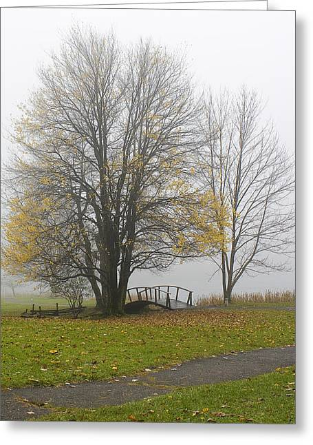Greeting Card featuring the photograph Foggy Crossing by Alan Raasch