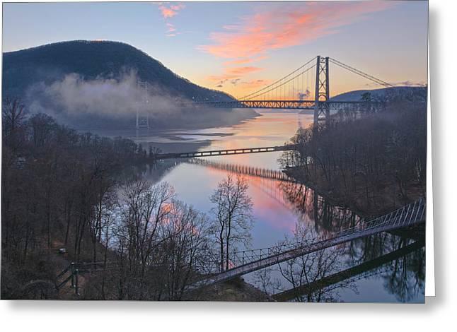 Foggy Dawn At Three Bridges Greeting Card by Angelo Marcialis