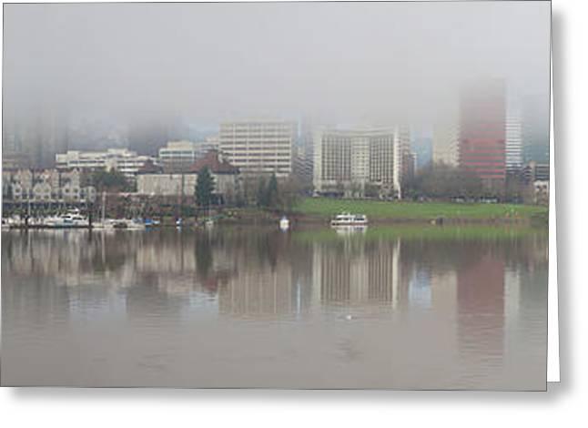 Foggy Day Along Portland Waterfront Panorama Greeting Card