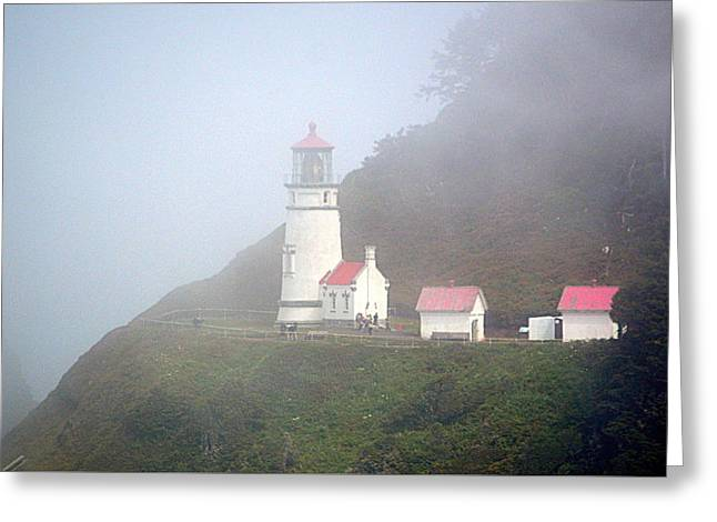 Greeting Card featuring the photograph Foggy Day At The Heceta Head Lighthouse by AJ Schibig