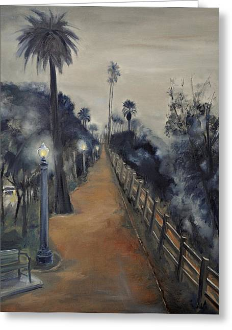 Foggy Day On Ocean Ave Greeting Card by Lindsay Frost