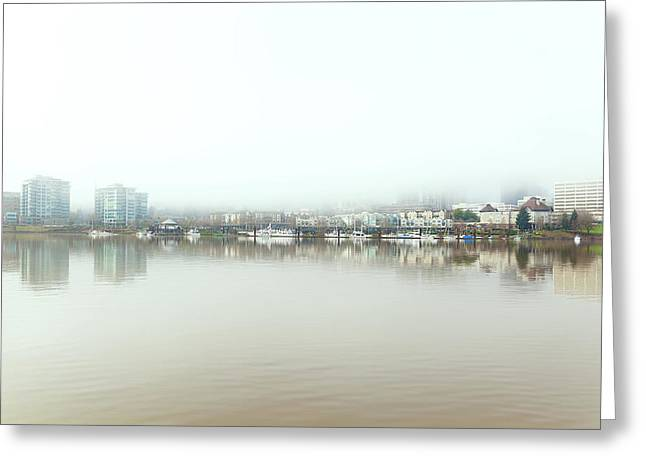 Foggy Day On Portland Downtown Waterfront Greeting Card