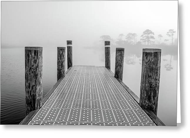 Greeting Card featuring the photograph Foggy Dock In Alabama  by John McGraw