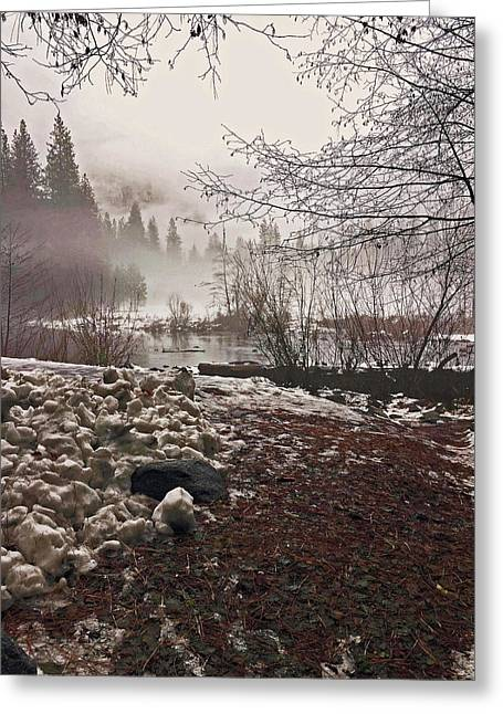 Greeting Card featuring the photograph Foggy Early Morning 2016 by Walter Fahmy
