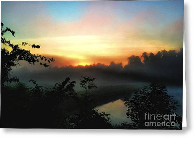 Foggy Edges Sunrise Greeting Card