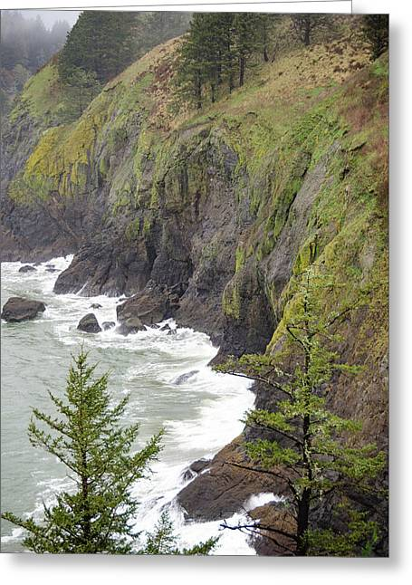 Foggy Evening At Cape Disappointment Greeting Card by Anthony Doudt