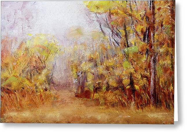 Foggy Fall Morning Greeting Card by Barry Jones