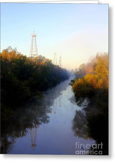 Foggy Fall Morning On The Sabine River Greeting Card by Kathy  White