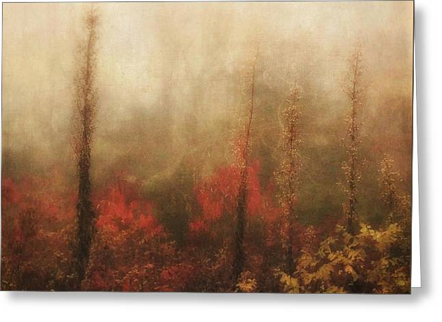 Foggy Fall On The Parkway Greeting Card