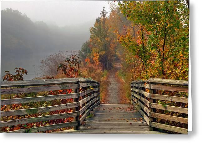 Foggy Fall Trail Greeting Card