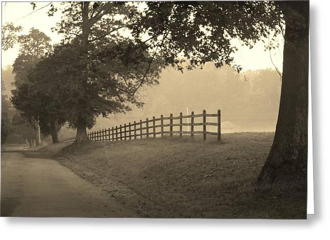 Foggy Fence Line Greeting Card