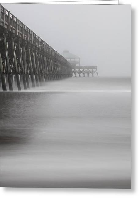 Foggy Folly Beach Pier Greeting Card by John McGraw