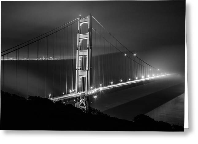 Foggy Golden Gate Bridge Black And White   Greeting Card