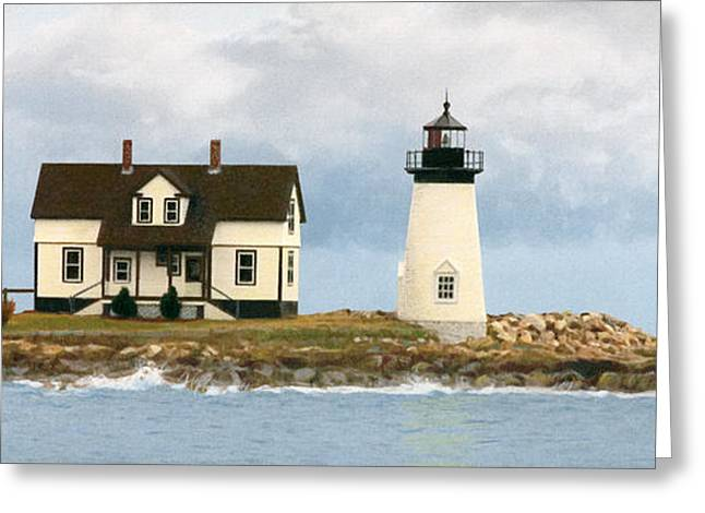 Maine Lighthouses Greeting Cards - Foggy Guardian Greeting Card by Brent Ander