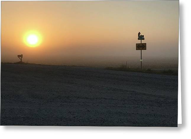 Greeting Card featuring the photograph Foggy Hawkeye Sunrise  by Jame Hayes