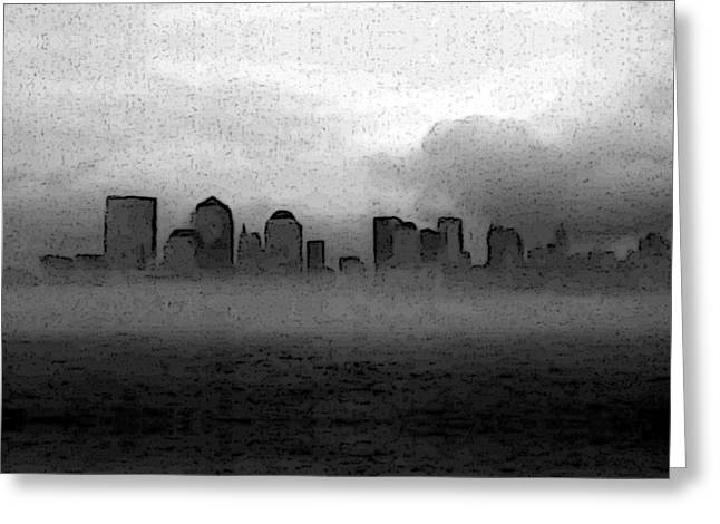 Foggy Manhatten Black And White Greeting Card