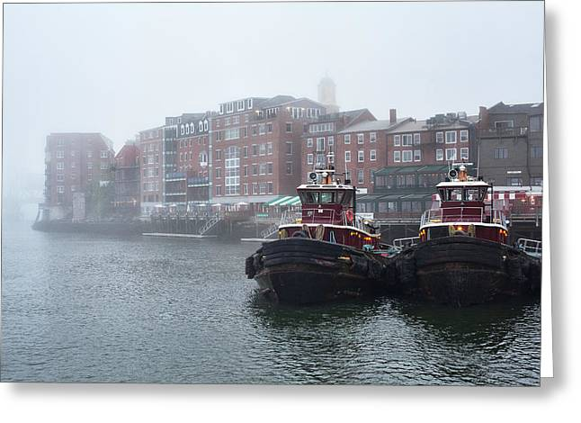 Foggy Moran Tugboats Greeting Card by Eric Gendron
