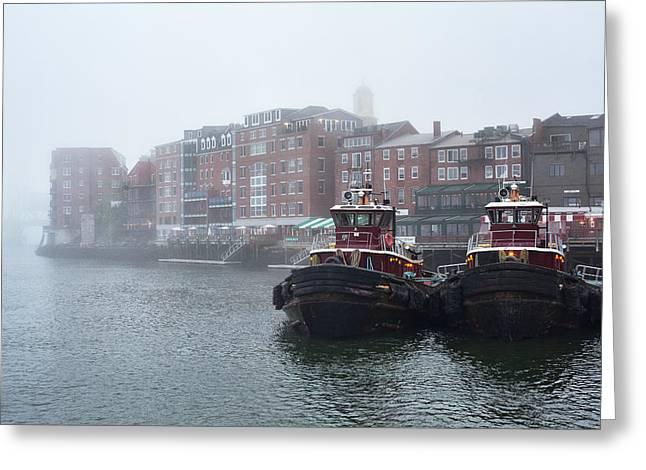 Foggy Moran Tugboats Greeting Card