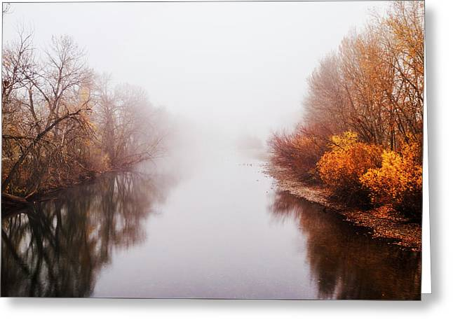 Foggy Morning Along Boise River In Boise Idaho Usa Greeting Card by Vishwanath Bhat