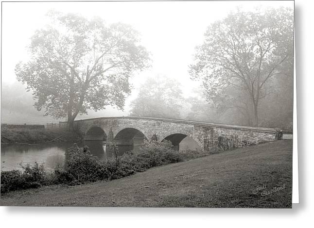 Foggy Morning At Burnside Bridge Greeting Card