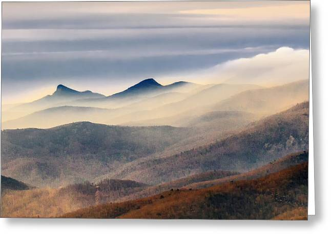 Greeting Card featuring the photograph Foggy Morning At Hawksbill And Table Rock by Ken Barrett