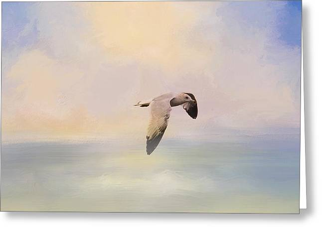 Foggy Morning At Sea Greeting Card by Jai Johnson