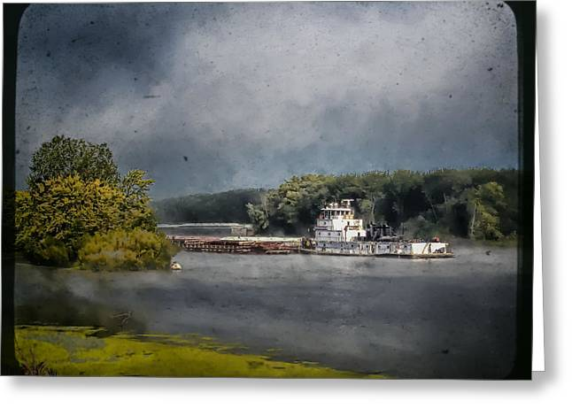 Foggy Morning At The Barge Harbor Greeting Card