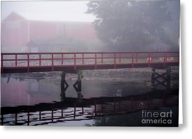 Foggy Morning At The Bridge Greeting Card