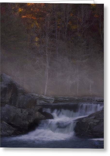 Greeting Card featuring the photograph Foggy Morning At Linville Falls by Ellen Heaverlo