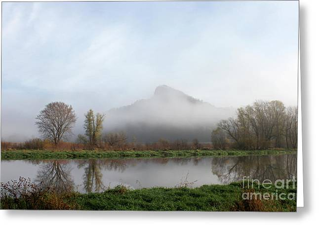 Foggy Morning Bluff Greeting Card by Inspired Arts