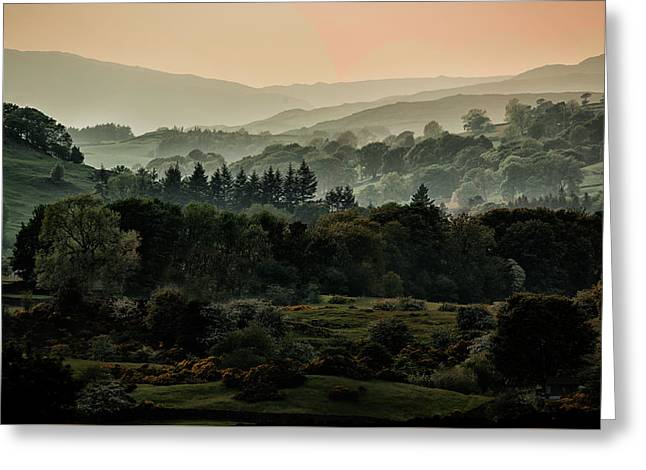 Foggy Morning In Lake District Greeting Card by Jaroslaw Blaminsky