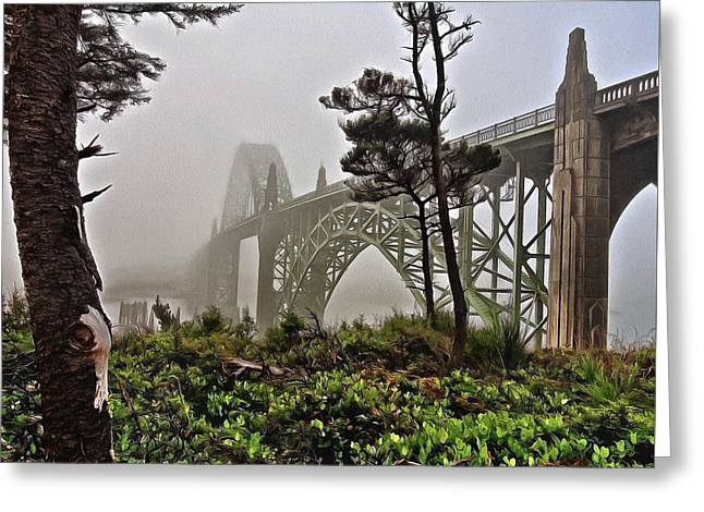 A Foggy Morning On Yaquina Bay Greeting Card