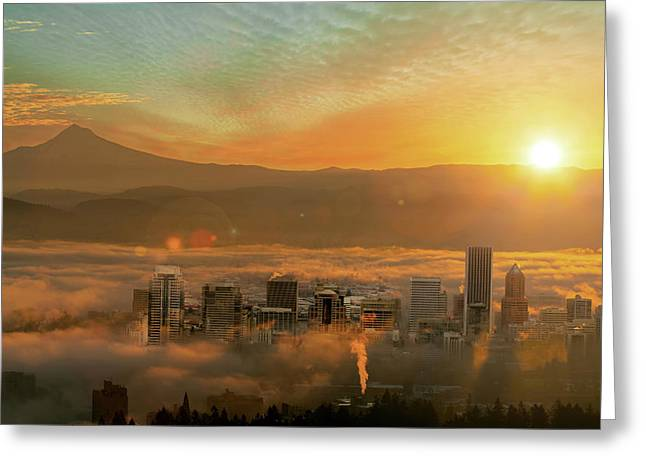 Foggy Morning Over Portland Cityscape During Sunrise Greeting Card by David Gn