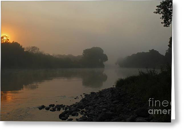 Greeting Card featuring the photograph Foggy Morning Red River Of The North by Steve Augustin