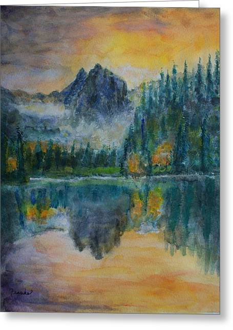 Foggy Mountain Lake Greeting Card by David Frankel
