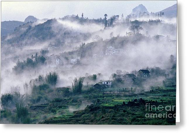 Greeting Card featuring the photograph Foggy Mountain Of Sa Pa In Vietnam by Silva Wischeropp