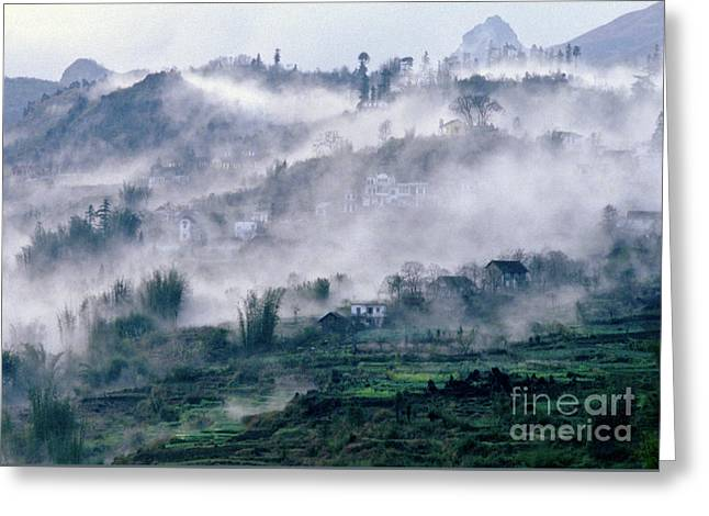 Foggy Mountain Of Sa Pa In Vietnam Greeting Card