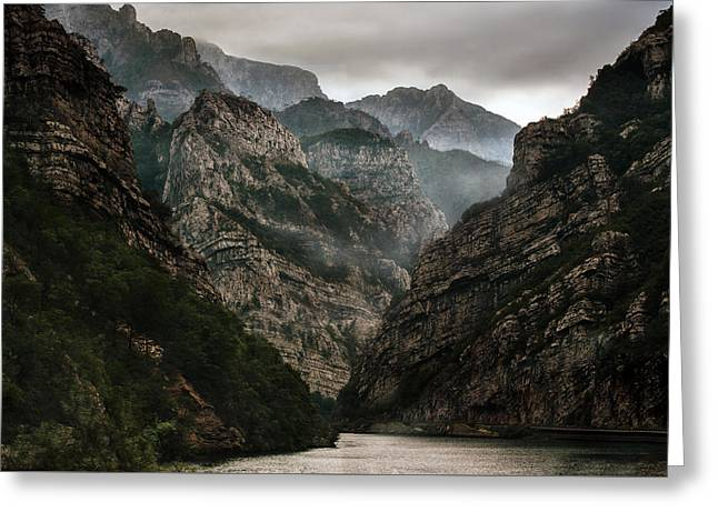 Foggy Mountains Over Neretva Gorge Greeting Card